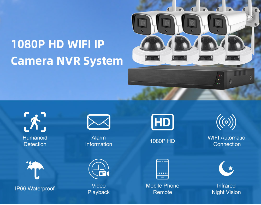 [2021 new]  8 Channel Wireless Small business Security System , 4PCS metal wifi Bullet camera + 4PCS metal wifi dome camera for Homes Small business Night Vision, Motion Alert free shipping