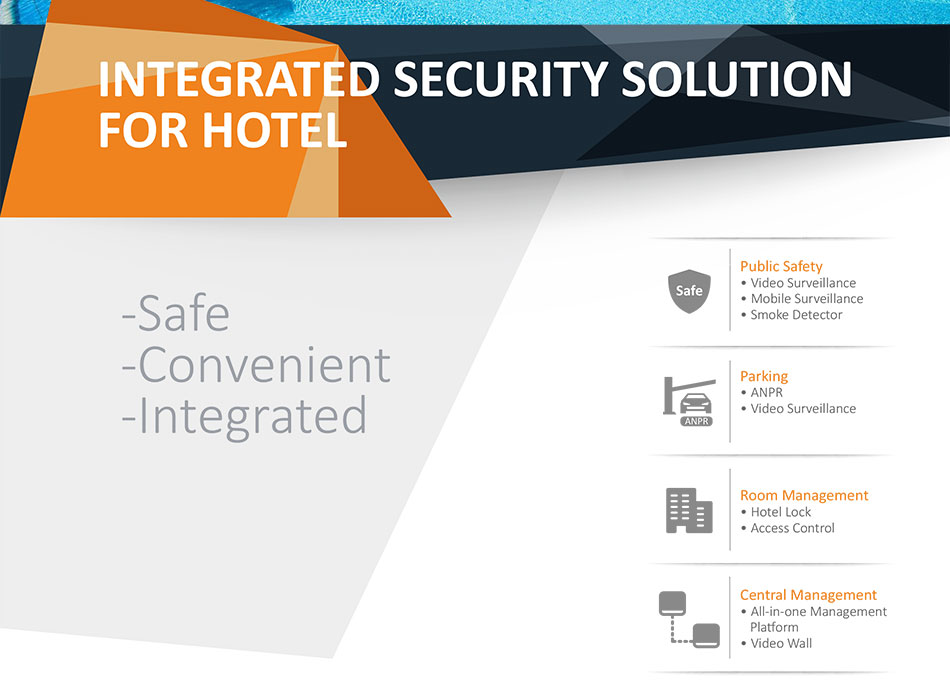Public Safety • Video Surveillance • Mobile Surveillance • Smoke Detector Parking • ANPR • Video Surveillan Room Management • Hotel Lock • Access ControlCentral Management • All-in-one Management  Platform • Video Wall.Parking • Automated vehicle access control with  ANPR module • Parking video surveillance ensures vehicle  safetyRoom Management • Dahua Hotel locks ensure safe and convenient  hotel room management • Access control can manage personnel entry.Central Management • All-in-one management platform integrates  multiple systems together • Video wall displays clear, live surveillance  overview