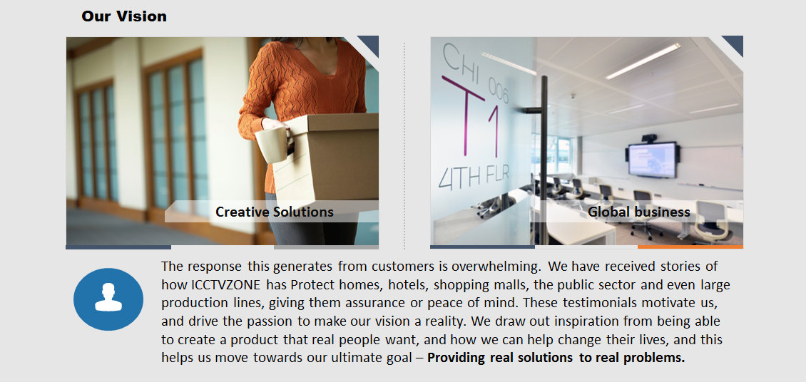 The response this generates from customers is overwhelming. We have received stories of how ICCTVZONE has Protect homes, hotels, shopping malls, the public sector and even large production lines, giving them assurance or peace of mind. These testimonials motivate us, and drive the passion to make our vision a reality. We draw out inspiration from being able to create a product that real people want, and how we can help change their lives, and this helps us move towards our ultimate goal – Providing real solutions to real problems.