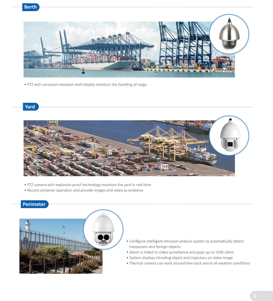 INTEGRATED SECURITY SOLUTION FOR HARBOR • Mult-lens camera with 180 degree panoramic video displays wide-angle video in real-tme • Harbor shipping lane can be viewed more clearly • Effectvely improve the performance of emergency response command • Thermal camera can work around-the-clock and in all weather conditons
