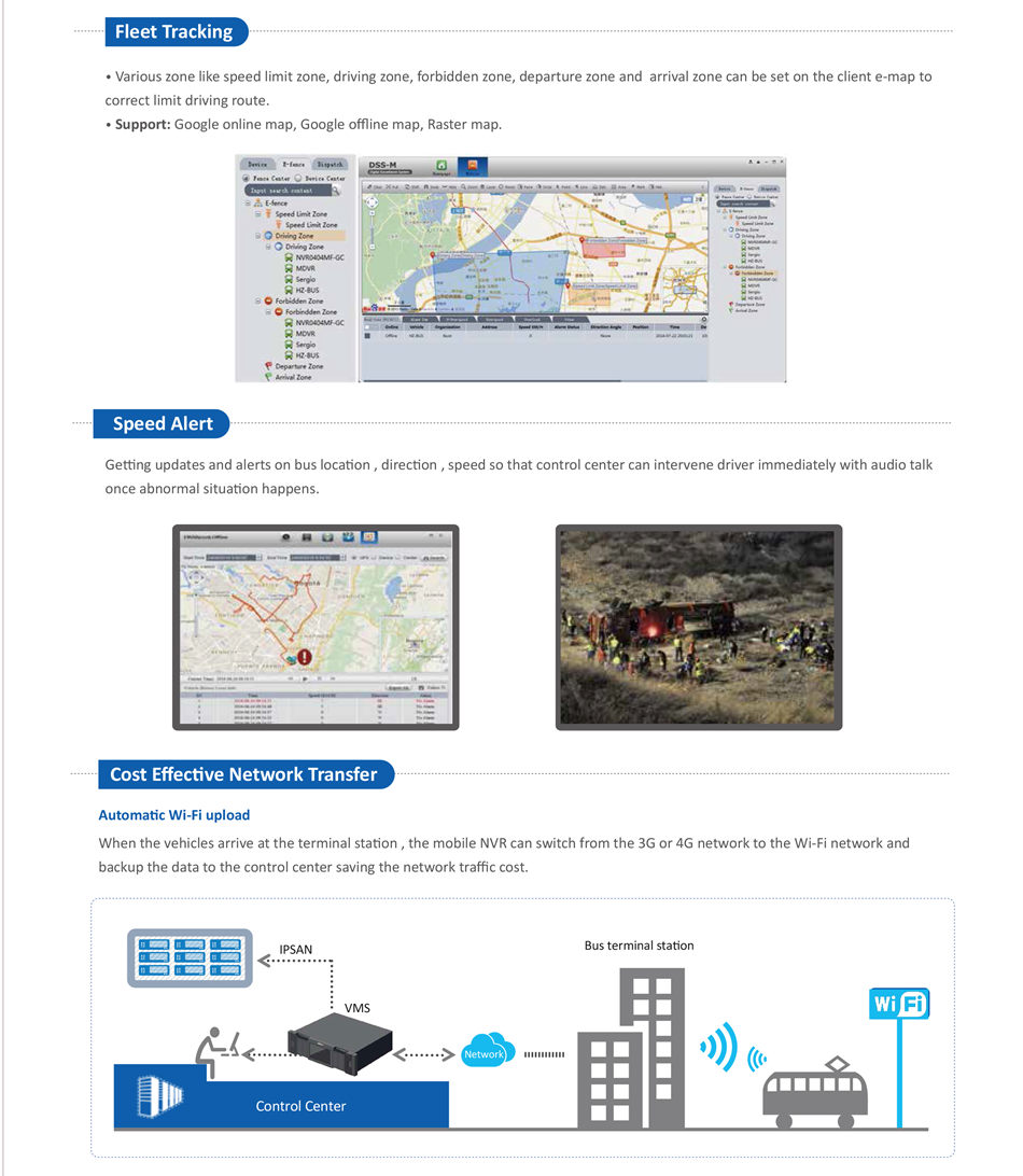 INTEGRATED SECURITY SOLUTION FOR PUBLIC BUS Automatic Wi-Fi upload When the vehicles arrive at the terminal station , the mobile NVR can switch from the 3G or 4G network to the Wi-Fi network and backup the data to the control center saving the network traffic cost.