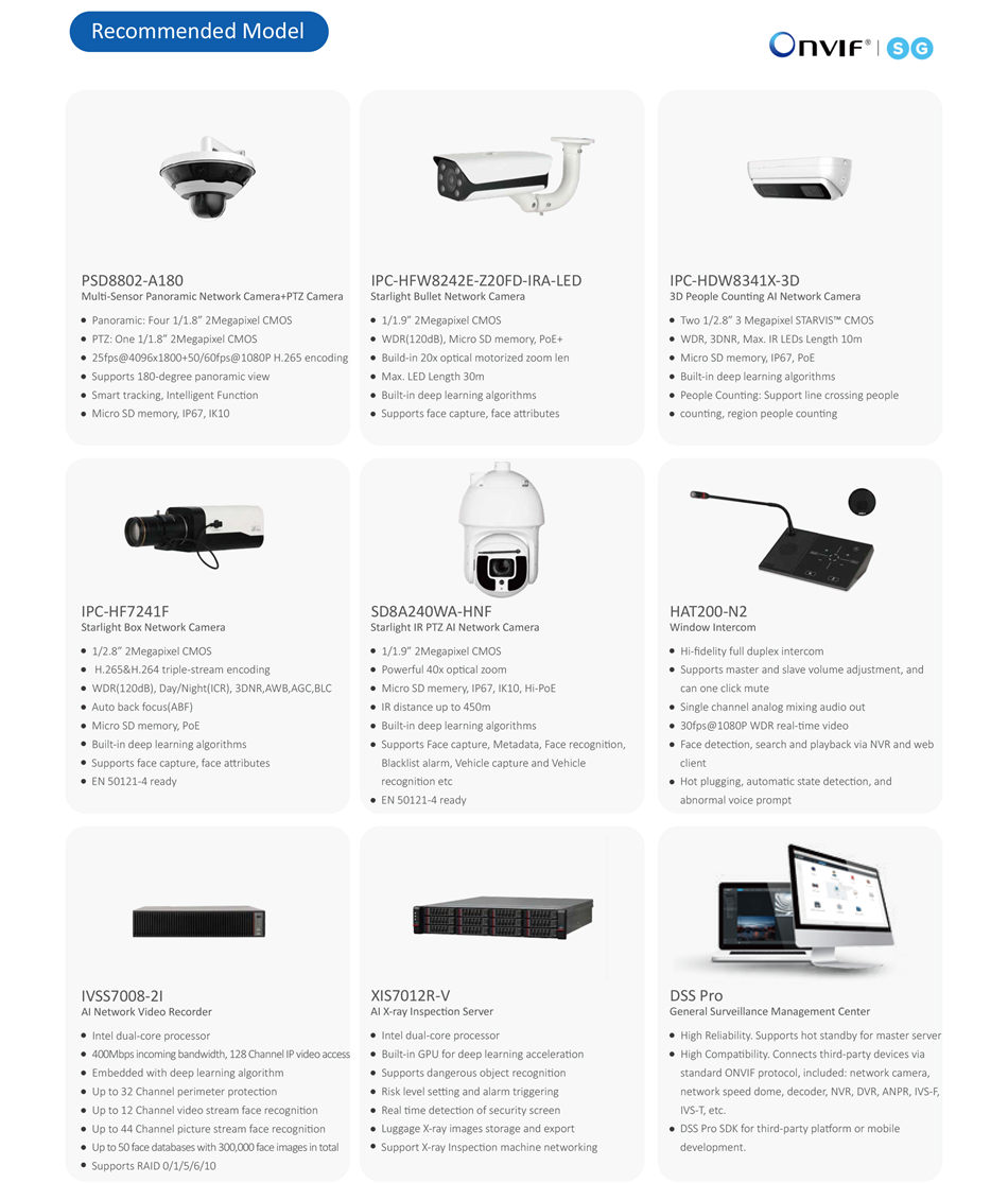 Railway Station Surveillance Solution IVSS7008-2I AI Network Video Recorder Intel dual-core processor 400Mbps incoming bandwidth, 128 Channel IP video access Embedded with deep learning algorithm Up to 32 Channel perimeter protection Up to 12 Channel video stream face recognition Up to 44 Channel picture stream face recognition Up to 50 face databases with 300,000 face images in total Supports RAID 0/1/5/6/10