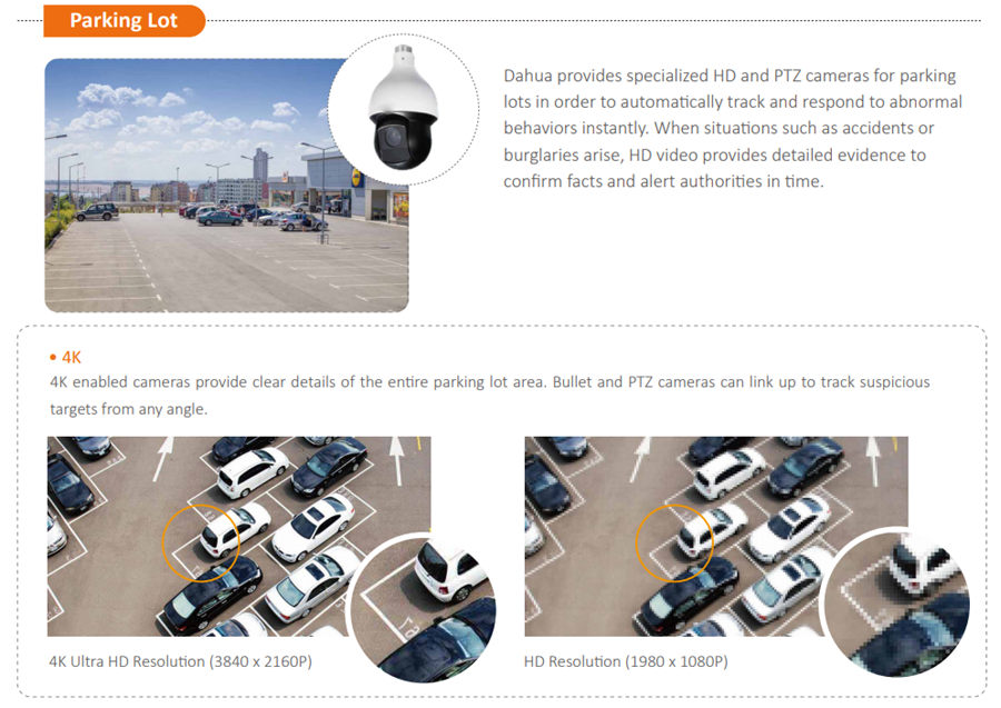 provides specialized HD and PTZ cameras for parking lots in order to automatically track and respond to abnormal behaviors instantly. When situations such as accidents or burglaries arise, HD video provides detailed evidence to confirm facts and alert authorities in time.