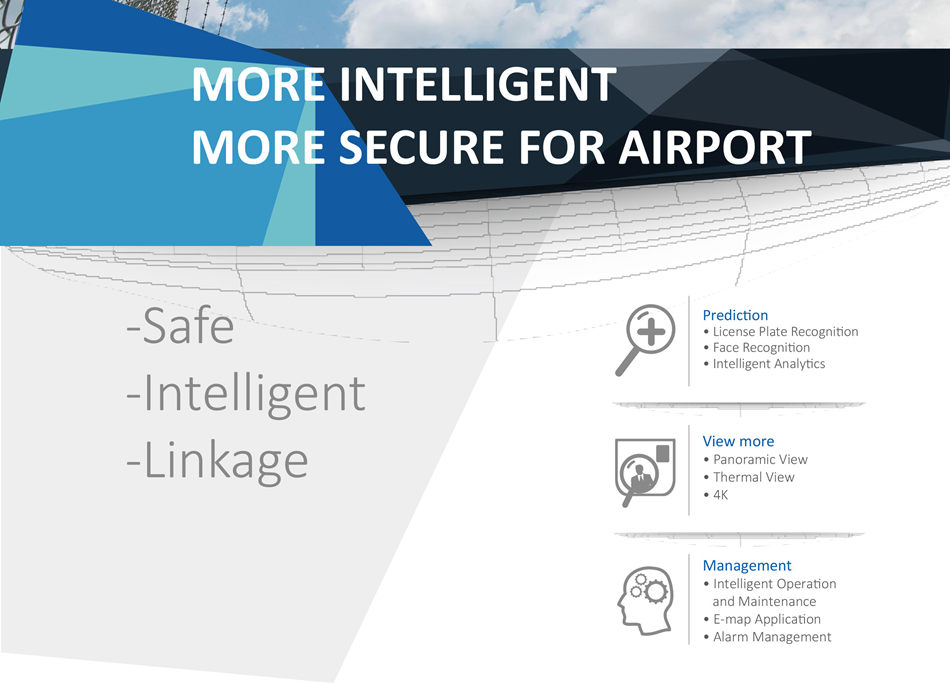 INTEGRATED SECURITY SOLUTION FOR AIRPORT • Adopt all-in-One camera to capture and recognize license plate of vehicle